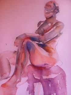 """""""Seated Figure Study-female"""" Watercolor 11x7.5"""" $125"""