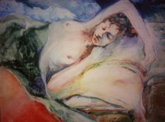 """""""Reclining with Pillow"""" Watercolor on Yupo 11x14 $250"""
