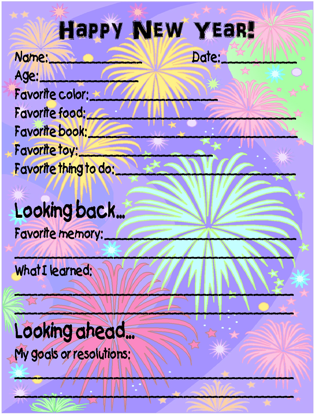 Printable New Year S Eve Survey And Homemade Toasting Glasses
