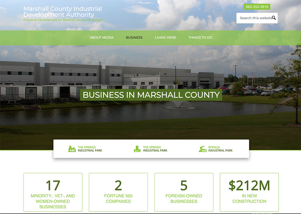 Business in Marshall Page on the Marshall County IDA Website