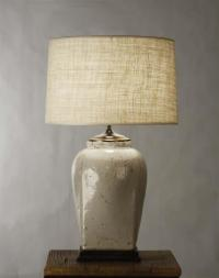 French Country Ceramic Linen Shade Table Lamp