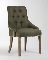Anneau Olive Linen Tufted Nailhead Vanity Dining Chair ...