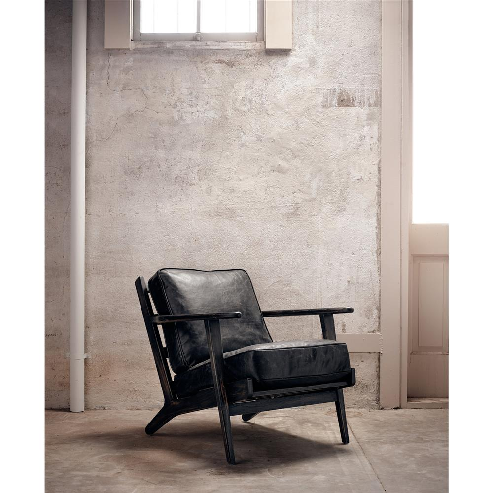 Black Leather Lounge Chair Rider Mid Century Modern Oak Black Leather Armchair