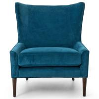 Paola Mid Century Peacock Blue Velvet Wing Lounge Chair ...