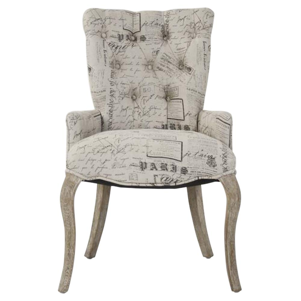 Script Chair Iris Tufted Vanity Dining Chair With Literary French Script