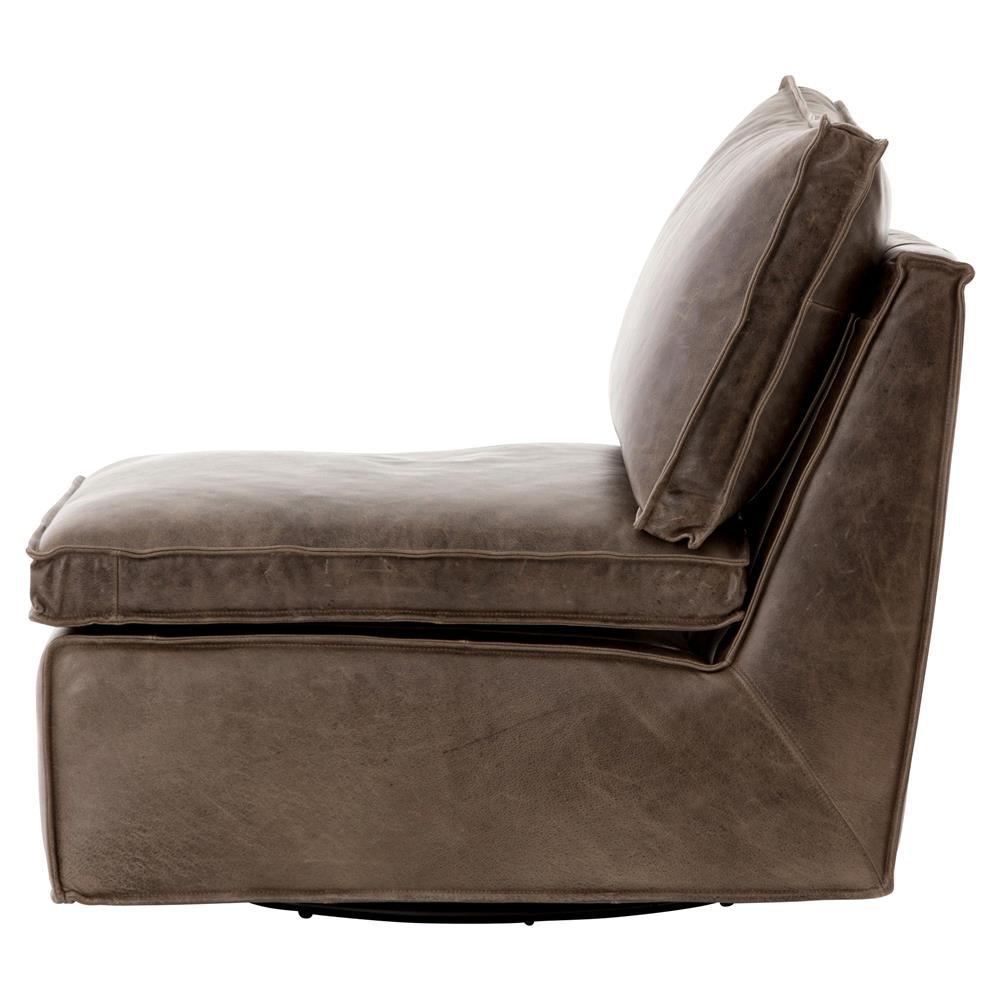 Armless Lounge Chair Essa Modern Rustic Espresso Leather Armless Swivel Lounge Chair