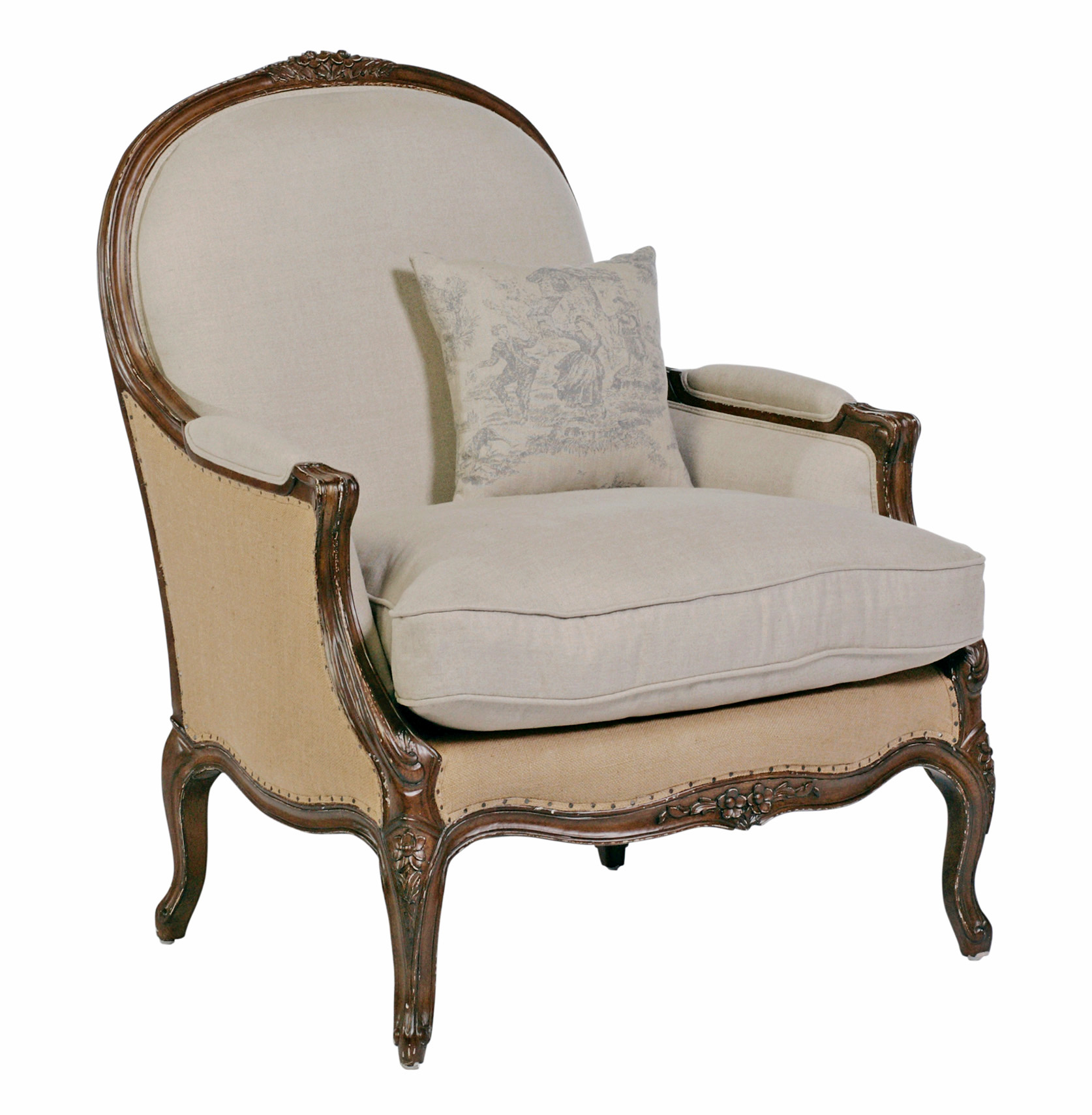 French Chairs Chloe Oversized French Country Burlap Linen Bergere Accent