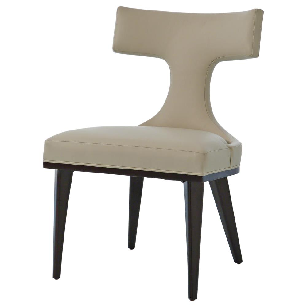 Classic Chair Truman Modern Classic Ivory Leather Upholstered Anvil Dining Chair