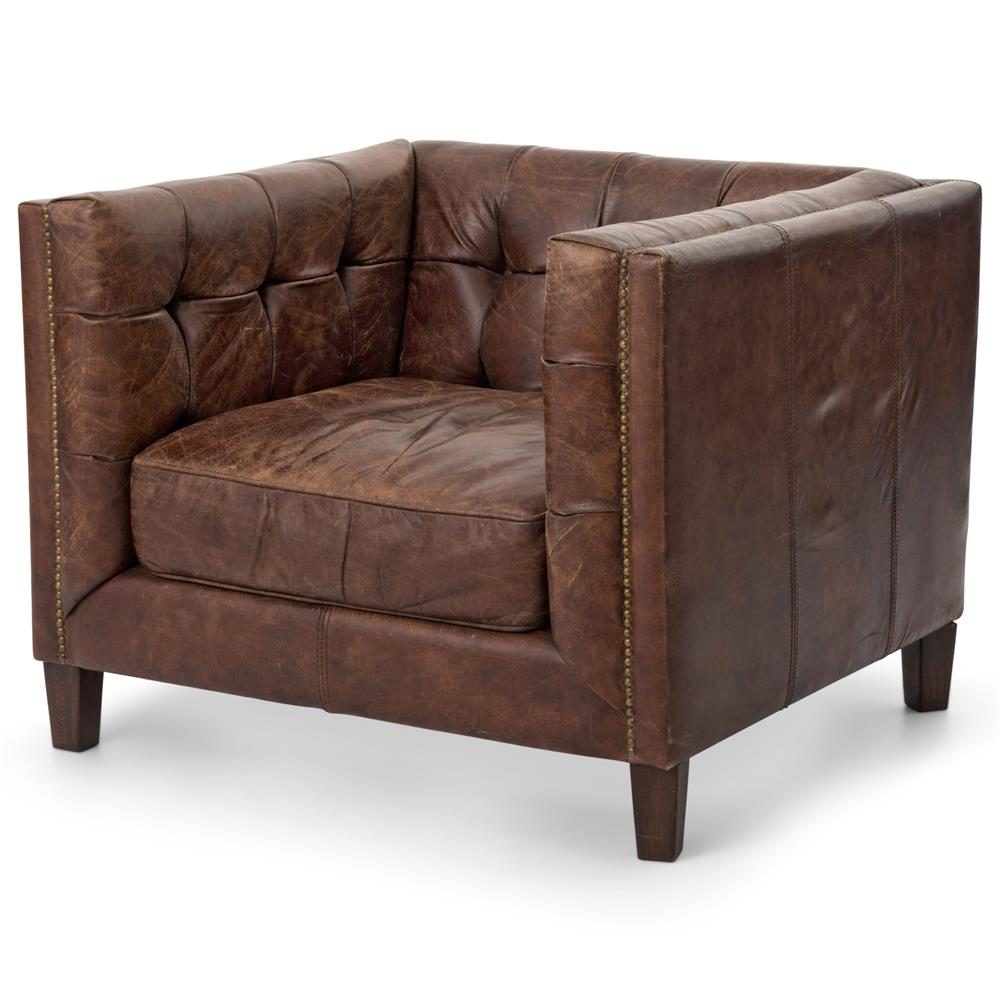 Brown Leather Chairs Christopher Rustic Lodge Tufted Straight Back Brown Leather Armchair
