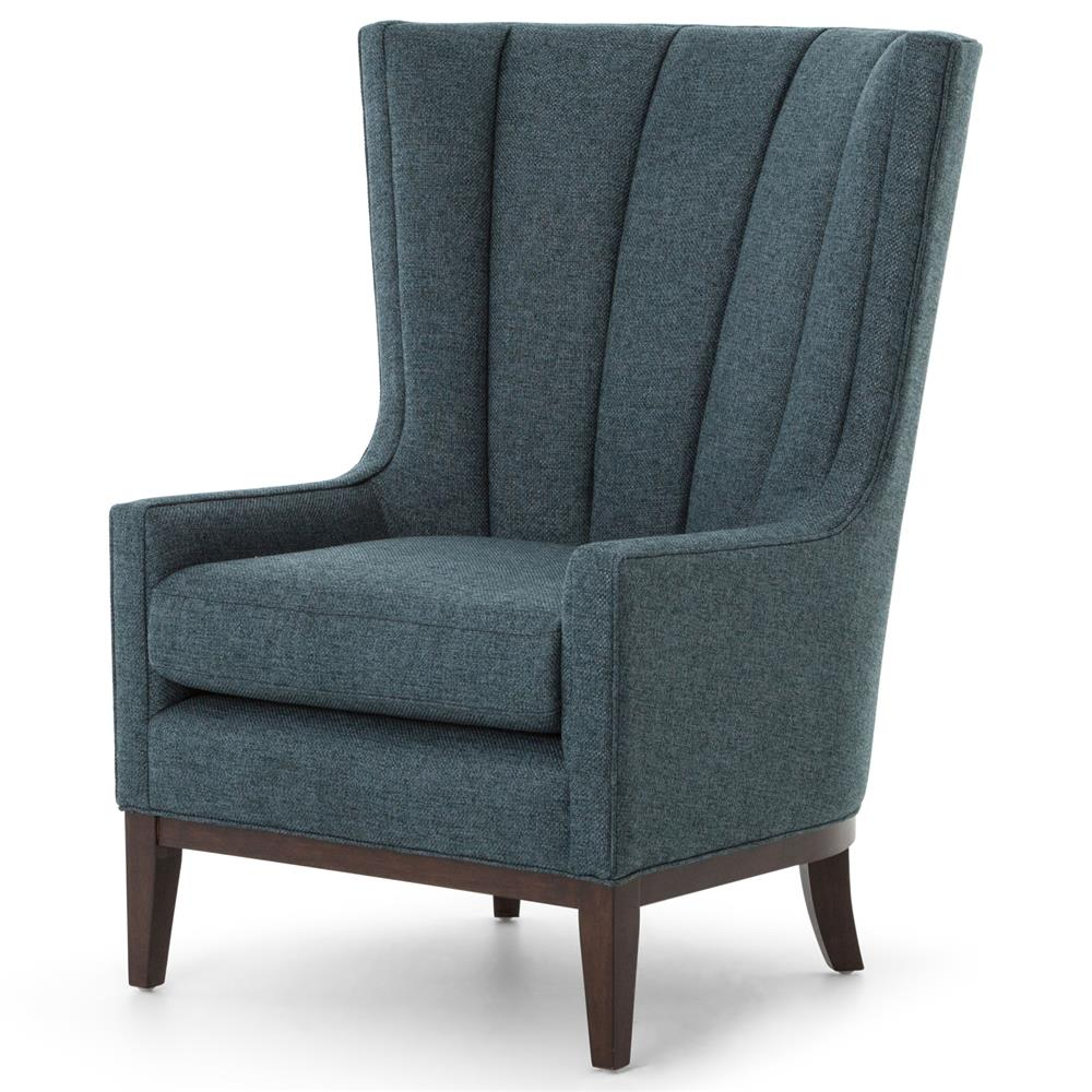 Modern Wing Chair Vida Modern Classic Dark Peacock Teal Fabric Wood Wing Armchair
