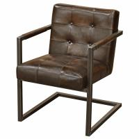 Townsend Industrial Loft Tufted Dark Brown Leather Dining ...
