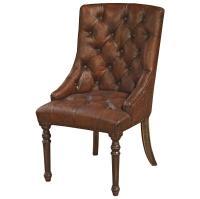 Boyce Rustic Lodge Tufted Vintage Brown Leather Wood ...