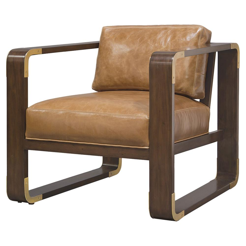 Leather And Wood Chair Palecek Brando Modern Classic Leather Smooth Wood Lounge Chair