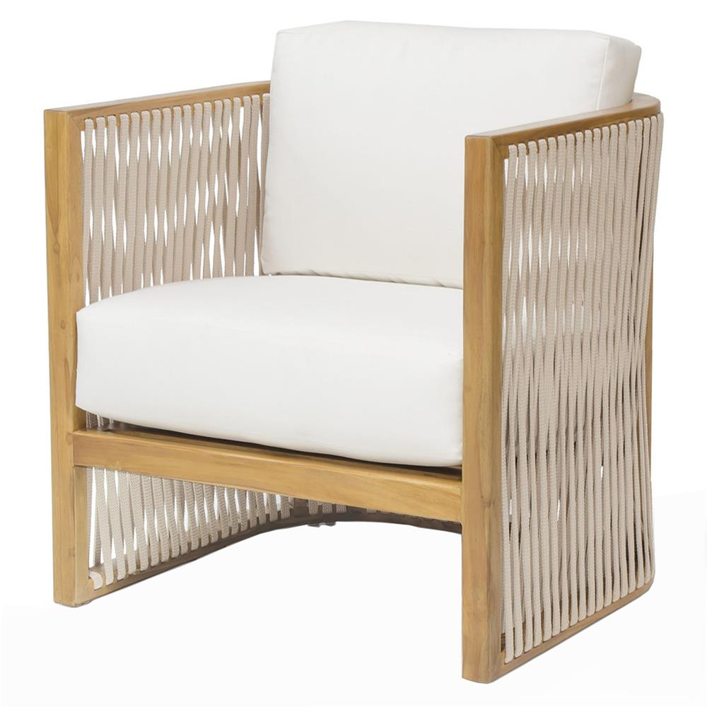 Teak Chaise Lounge Chairs Palecek Dominico Modern Coastal Beige Rope Teak Outdoor Lounge Chair
