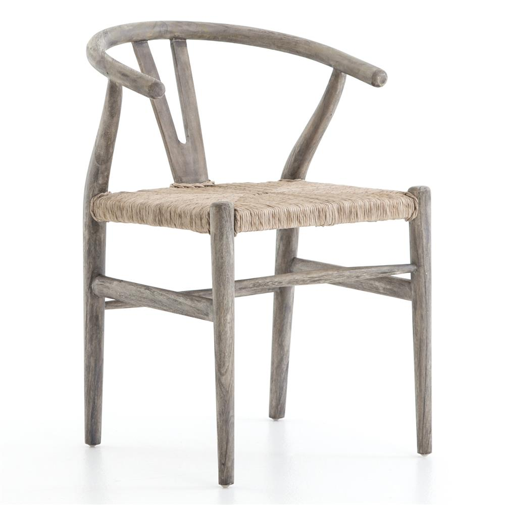Wishbone Dining Chair Breton Rustic Mid Century Wicker Wishbone Grey Wood Dining Chair