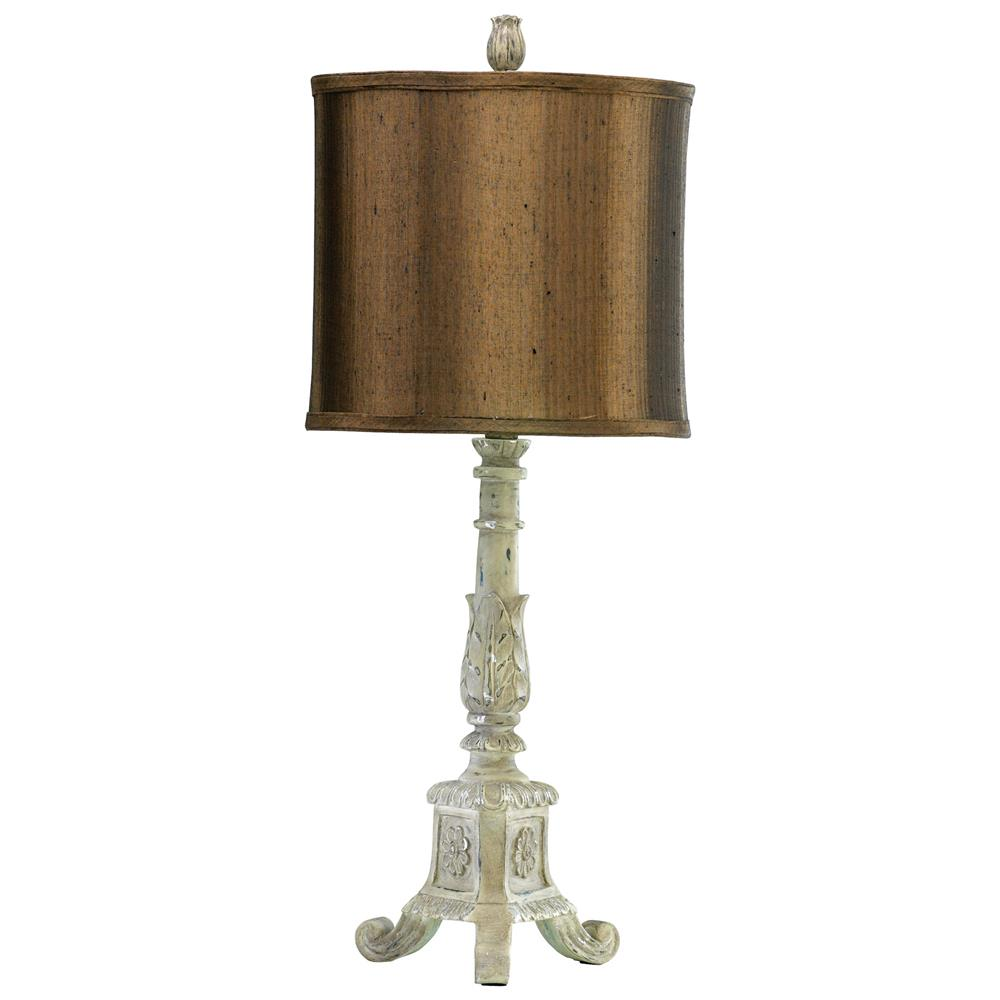 French Country Distressed White Brown Shade Table Lamp