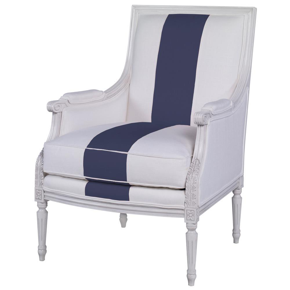 Blue And White Striped Chair Highland House Augusta French Country White Blue Linen Stripe Wood Accent Chair