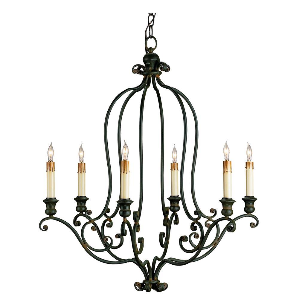 Hourglass Black Wrought Iron 6 Light Chandelier