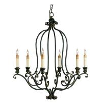 Hourglass Black Wrought Iron 6 Light Chandelier | Kathy ...