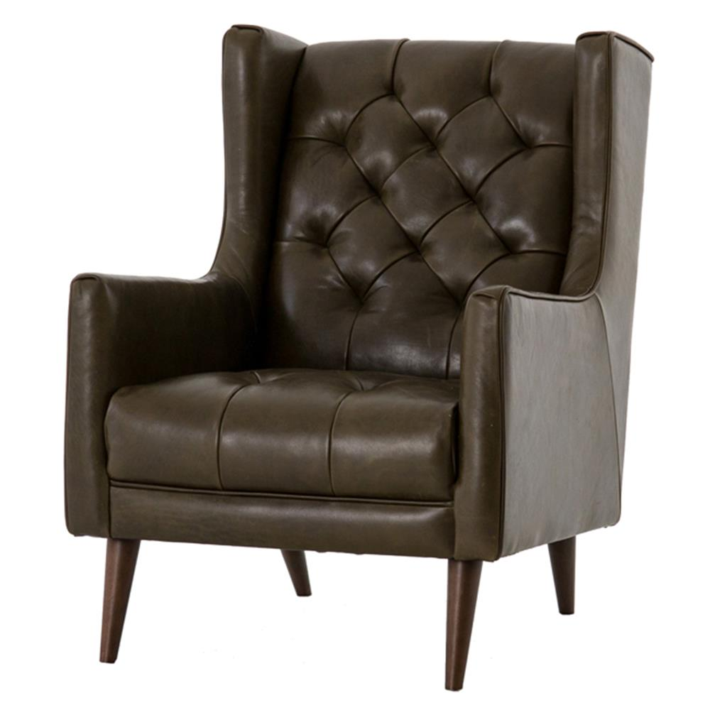 Modern Wing Chair Daniel Modern Classic Brown Leather Diamond Tufted Wing Chair