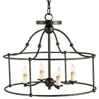 Open Frame Industrial 4 Light Ceiling Mount Chandelier ...
