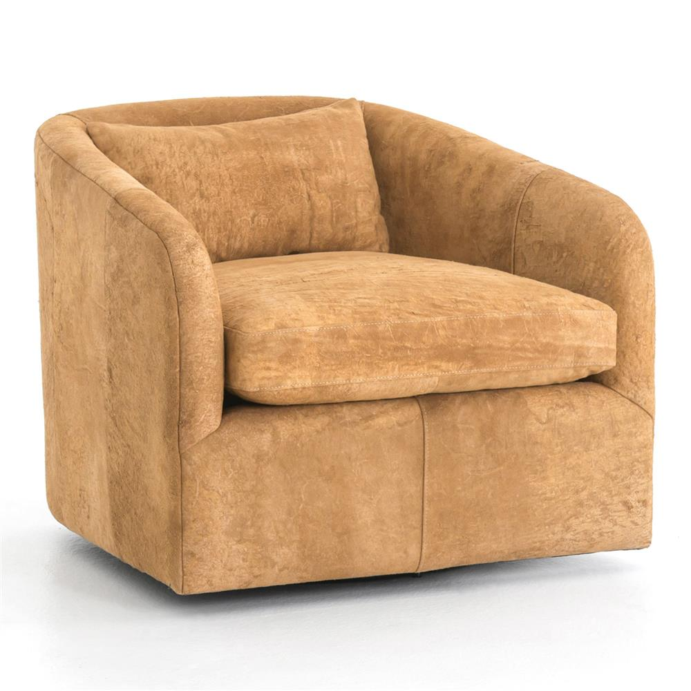 Swivel Tub Chair Perrin Modern Classic Brown Suede Upholstered Swivel Tub Chair