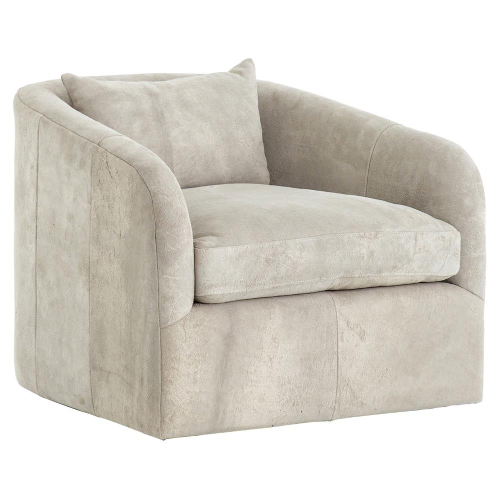 Swivel Tub Chair Perrin Modern Classic Grey Oyster Suede Upholstered Swivel Tub Chair