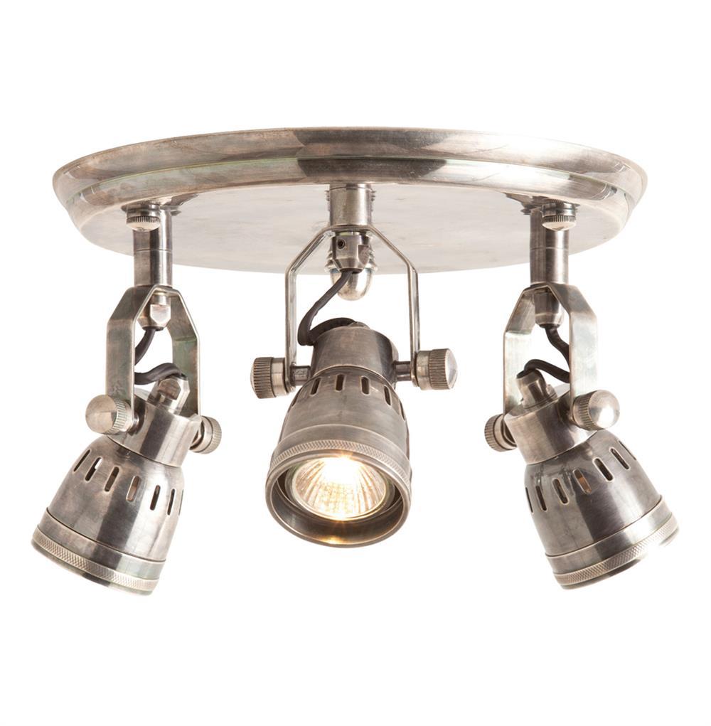Trey Industrial Loft 3 Light Vintage Silver Flush Mount