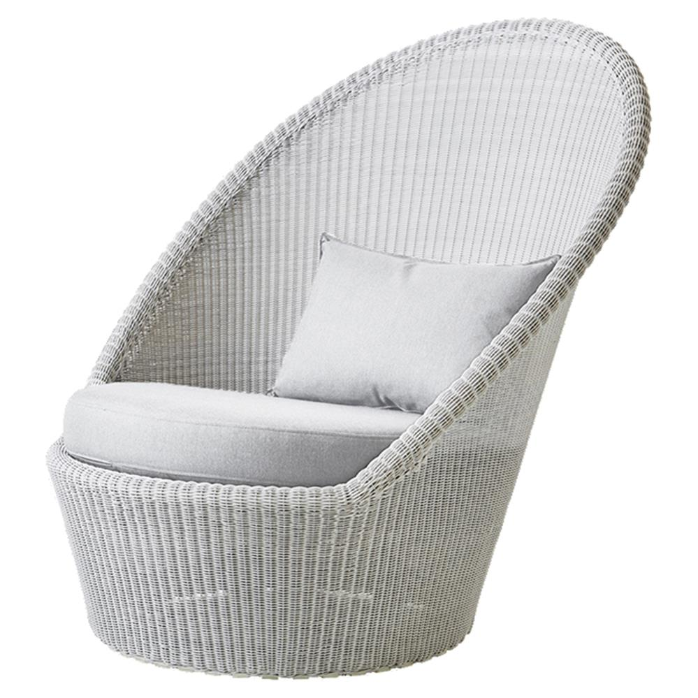 White Outdoor Lounge Chair Cane Line Kingston Coastal Light Grey White Cushion Outdoor Lounge Chair