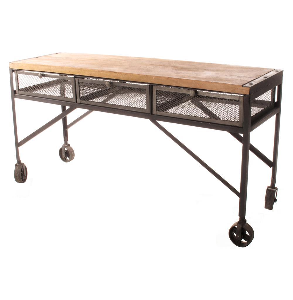 Tribeca Industrial Mesh Drawer Caster Wheel Desk Console