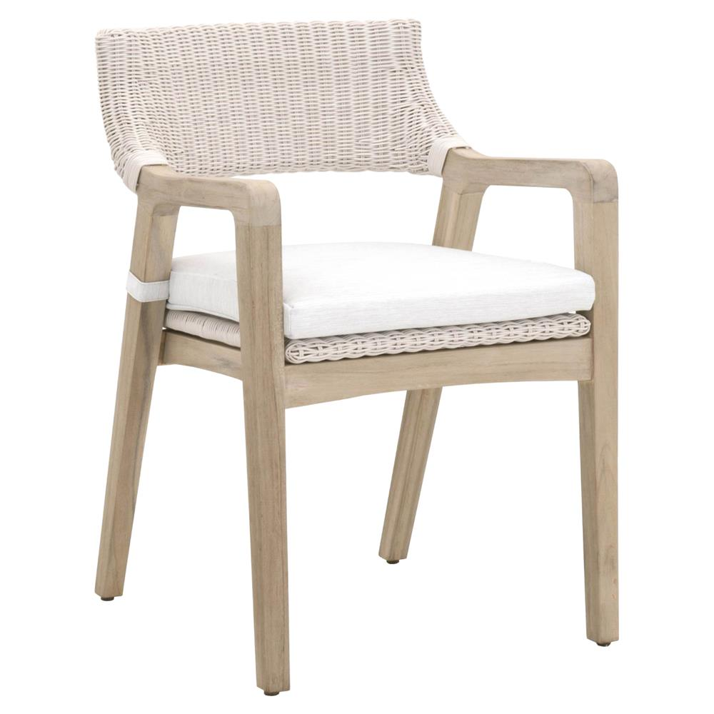 Wicker Outdoor Dining Chairs Lucile Modern Classic Woven Wicker Grey Teak Frame Outdoor Dining Chair