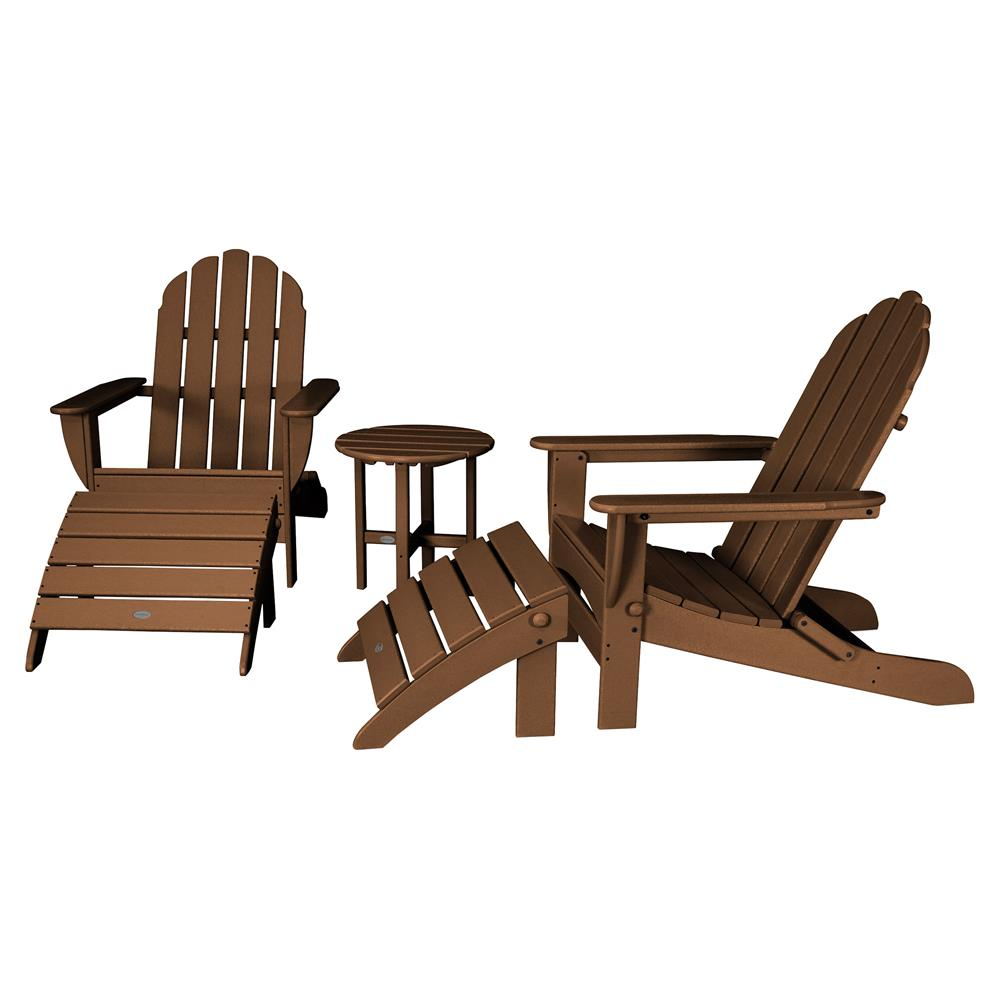 Adirondack Chair Set Angela Coastal Recycled Brown Outdoor Adirondack Chair Set 5 Piece