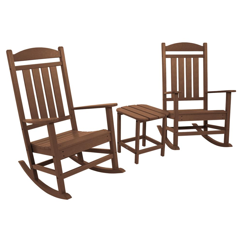 Outdoor Rocking Chair Set Randy Coastal Recycled Brown Rocking Chair Set Outdoor Seating 3 Piece