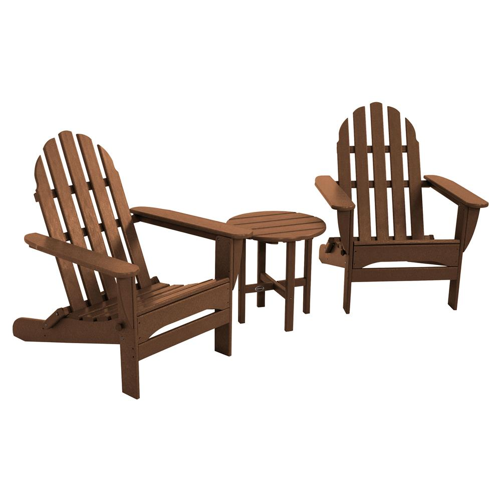 Adirondack Chair Set Angela Coastal Recycled Brown Outdoor Adirondack Chair Set 3 Piece