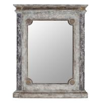 Ava French Country Rosette Black God Distressed Mantel Mirror