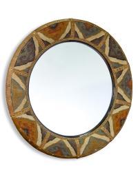 Windham Lodge Rustic Kilim Covered Large Round Mirror ...
