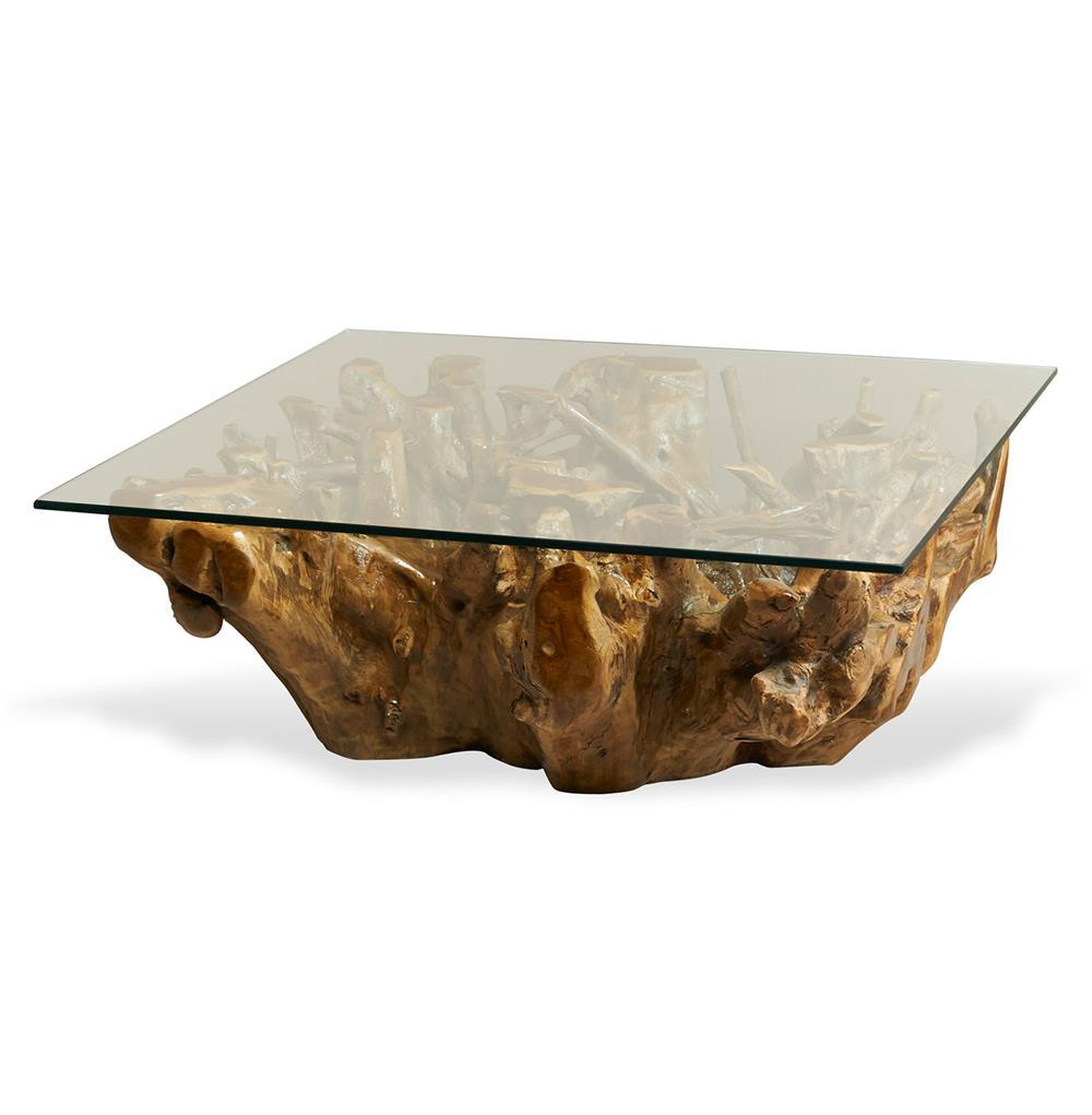 Hedin Rustic Lodge Glass Teak Root Square Coffee Table