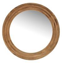 Tavern Rustic Lodge Reclaimed Pine Large Round Mirror ...