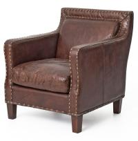 Alcott Rustic Masculine Cigar Brown Leather Accent Club Chair