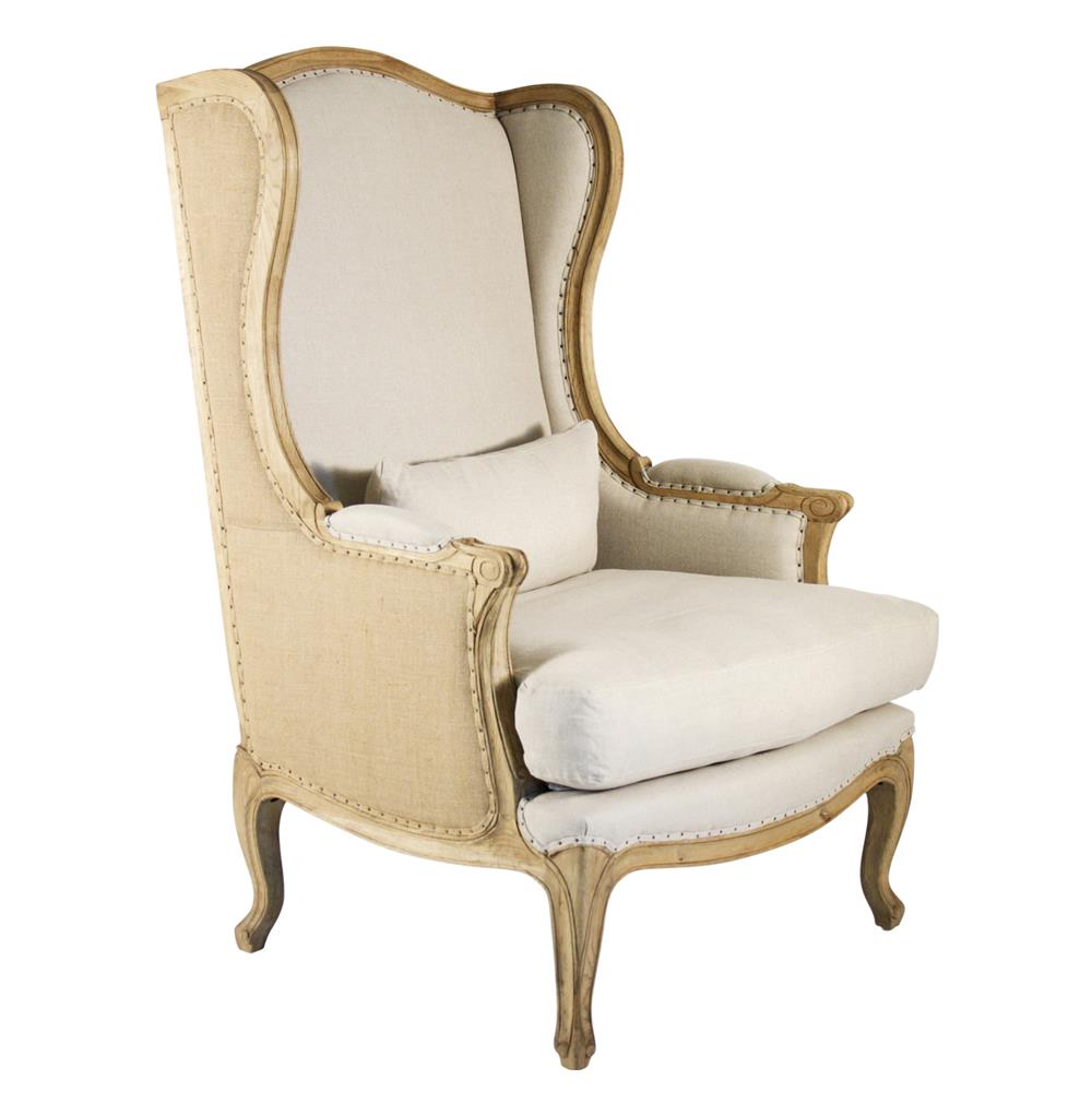 Wing Chair Leon French Country High Back Linen Wing Chair