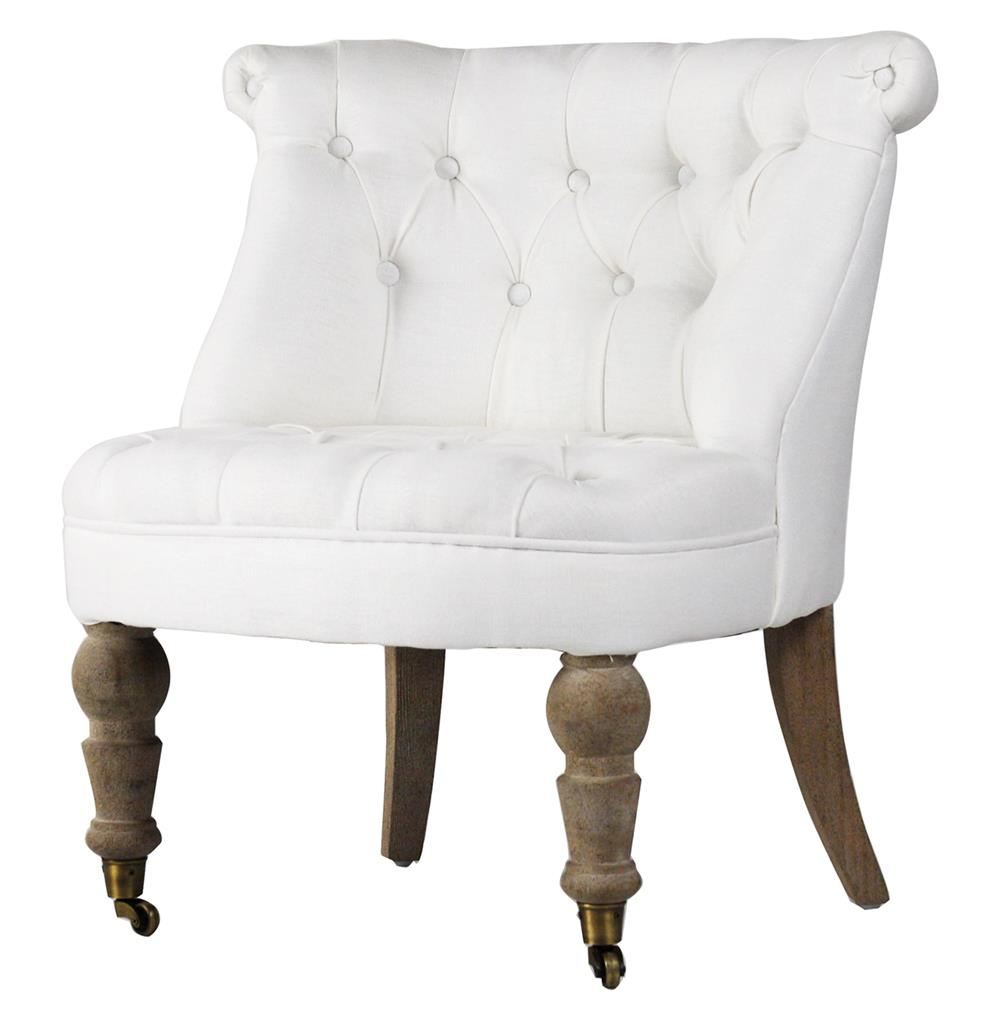 Accent Chair Living Room Amelie French White Linen Tufted Accent Chair