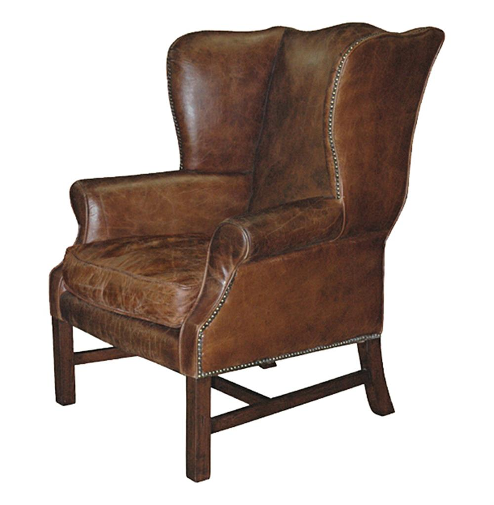 Oversized Wingback Chair Gaston Rustic Lodge Aged Leather Wingback Library Accent Armchair