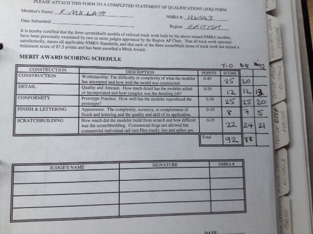Track score sheet