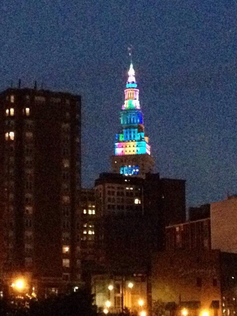 Lit up Terminal tower