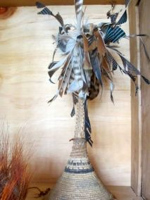 Tall feathered chief's hat