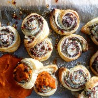 Boursin Bacon Pinwheels With Hot Honey & Tomato Dipping Sauce