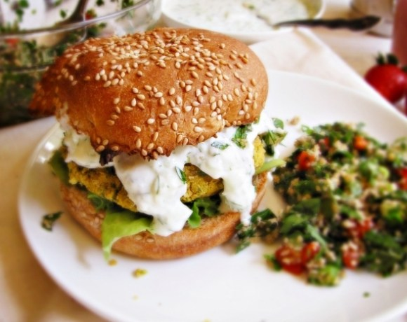 Greatist Dinner Party: Chickpea Burgers, Tabbouleh, and Strawberry Lassis