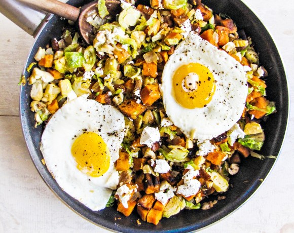 Greatist Collaboration: Brussels Sprout, Sweet Potato, and Chorizo Hash