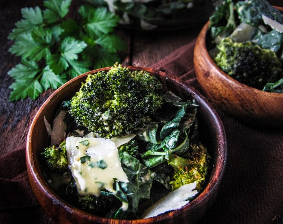 Monday Morning Resolutions: Roasted Broccoli and Kale Caesar Salad