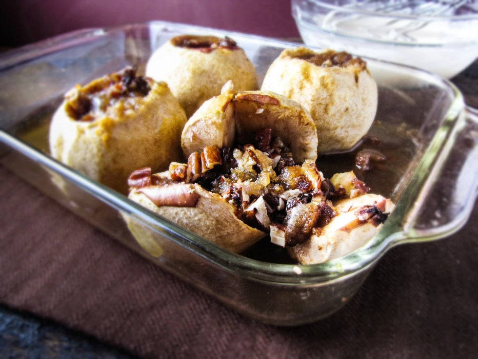 Baked Apples stuffed with Pecans and Dates {Katie at the Kitchen Door}